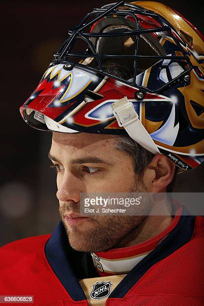 Goaltender Mike McKenna of the Florida Panthers warms up on the ice prior to the start of the game against the Boston Bruins at the BBT Center on...