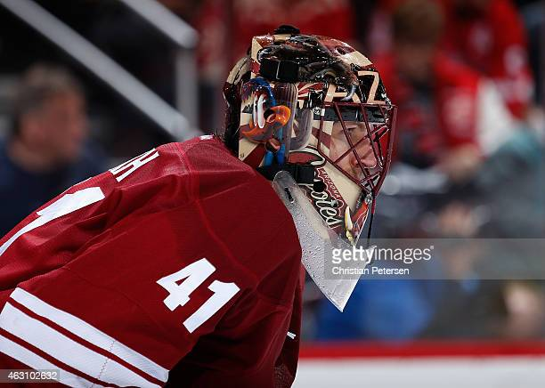 Goaltender Mike Smith of the Arizona Coyotes during the NHL game against the Detroit Red Wings at Gila River Arena on February 7 2015 in Glendale...
