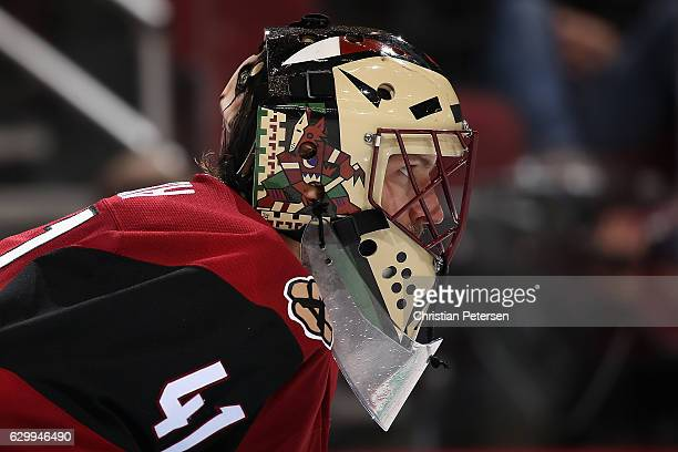 Goaltender Mike Smith of the Arizona Coyotes during the NHL game against the Nashville Predators at Gila River Arena on December 10 2016 in Glendale...