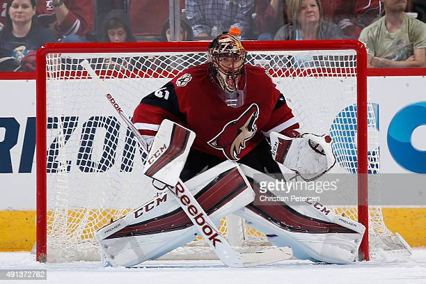 Goaltender Mike Smith of the Arizona Coyotes in action during the NHL preseason game against the San Jose Sharks at Gila River Arena on October 2...
