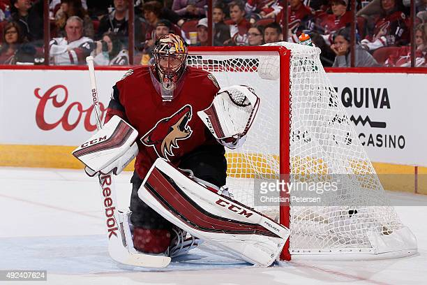 Goaltender Mike Smith of the Arizona Coyotes in action during the NHL game against the Pittsburgh Penguins at Gila River Arena on October 10 2015 in...