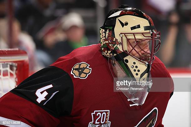 Goaltender Mike Smith of the Arizona Coyotes in action during the NHL game against the San Jose Sharks at Gila River Arena on November 19 2016 in...