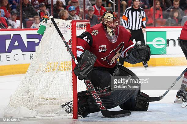 Goaltender Mike Smith of the Arizona Coyotes in action during the NHL game against the New York Rangers at Gila River Arena on December 29 2016 in...