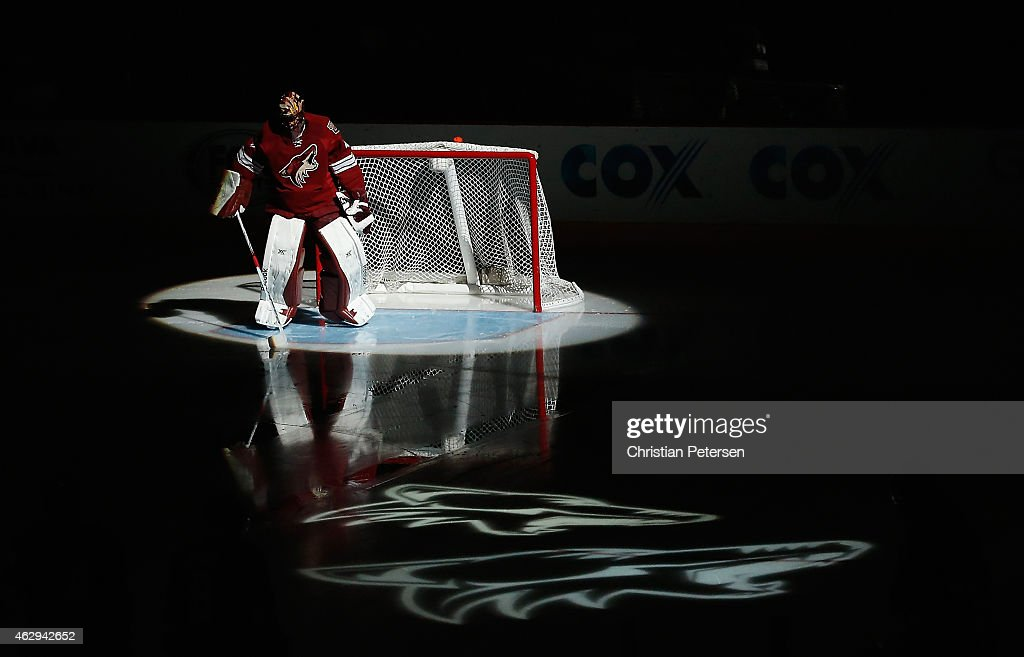 Goaltender Mike Smith #41 of the Arizona Coyotes is introduced before the NHL game against the Detroit Red Wings at Gila River Arena on February 7, 2015 in Glendale, Arizona.