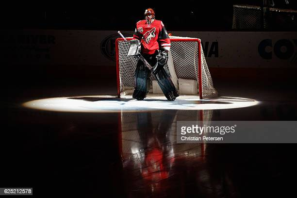 Goaltender Mike Smith of the Arizona Coyotes is introduced before the NHL game against the San Jose Sharks at Gila River Arena on November 19 2016 in...