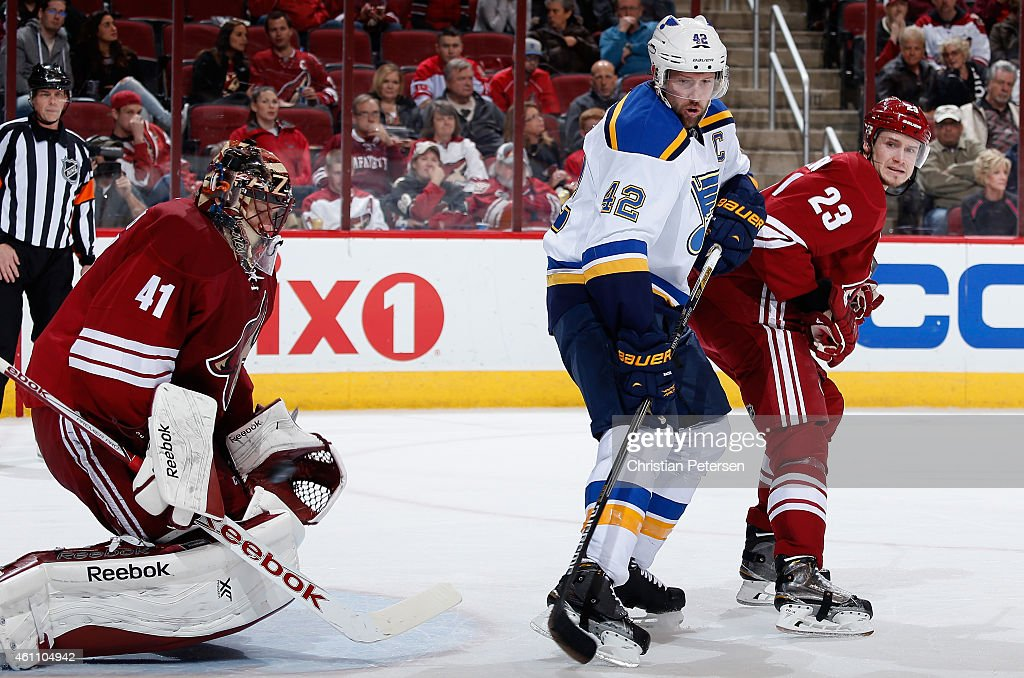 Goaltender Mike Smith #41 of the Arizona Coyotes makes a save on a shot past David Backes #42 of the St. Louis Blues during the second period of the NHL game at Gila River Arena on January 6, 2015 in Glendale, Arizona. The Blues defeated the Coyotes 6-0.
