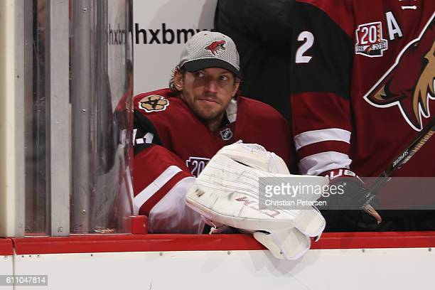 Goaltender Mike Smith of the Arizona Coyotes on the bench during the preseason NHL game against the Los Angeles Kings at Gila River Arena on...