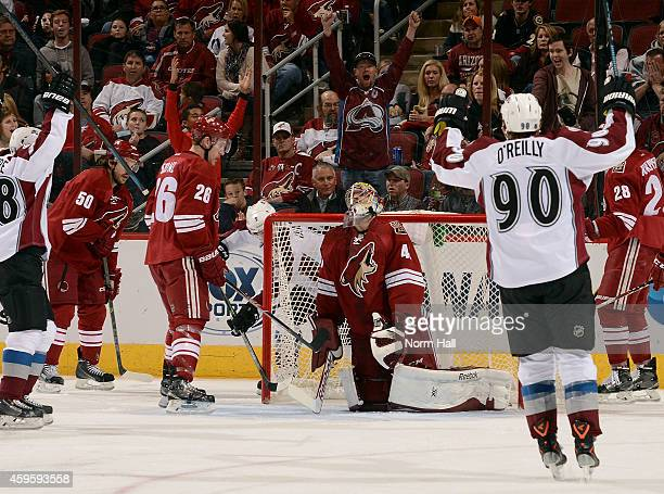 Goaltender Mike Smith of the Arizona Coyotes reacts after a game tying goal by Matt Duchene of the Colorado Avalanche during the third period at Gila...