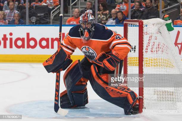 Goaltender Mike Smith of the Edmonton Oilers during the game against the Los Angeles Kings on October 5 at Rogers Place in Edmonton, Alberta, Canada.