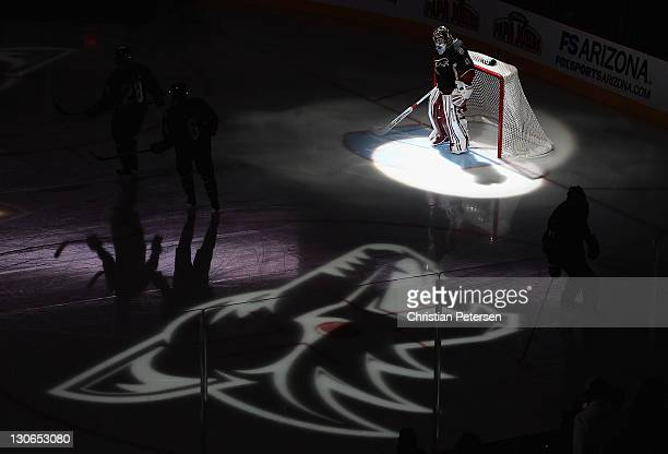 Goaltender Mike Smith of the Phoenix Coyotes is introduced before the NHL game against the New Jersey Devils at Jobingcom Arena on October 27 2011 in...
