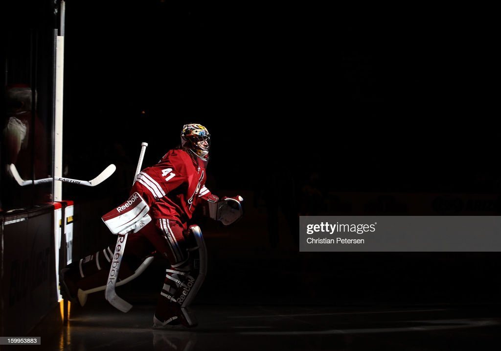 Goaltender Mike Smith #41 of the Phoenix Coyotes skates out onto the ice before the NHL game against the Columbus Blue Jackets at Jobing.com Arena on January 23, 2013 in Glendale, Arizona.