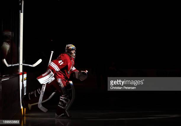 Goaltender Mike Smith of the Phoenix Coyotes skates out onto the ice before the NHL game against the Columbus Blue Jackets at Jobingcom Arena on...