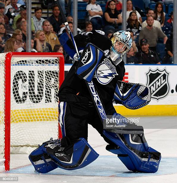 Goaltender Mike Smith of the Tampa Bay Lightning makes a save against the Atlanta Thrashers at St. Pete Times Forum on March 31, 2008 in Tampa,...
