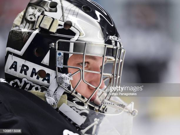 Goaltender Mikhail Denisov of the BlainvilleBoisbriand Armada looks on during the warmup prior to the QMJHL game against the Valdu2019Or Foreurs at...