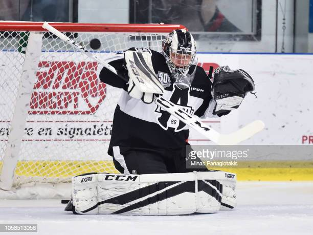 Goaltender Mikhail Denisov of the BlainvilleBoisbriand Armada makes a save during the warmup prior to the QMJHL game against the Valdu2019Or Foreurs...