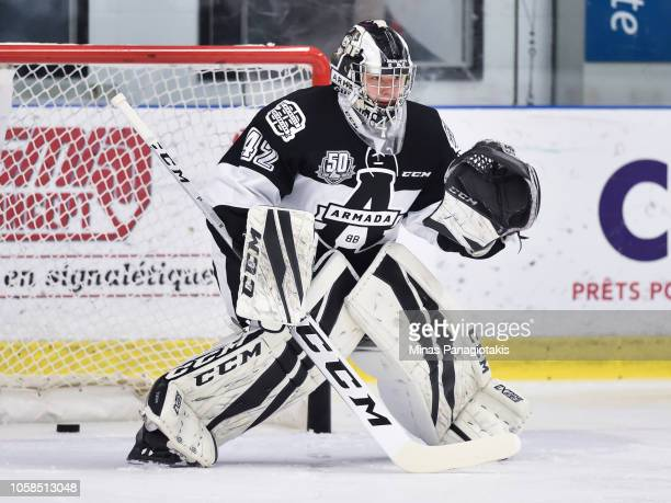 Goaltender Mikhail Denisov of the BlainvilleBoisbriand Armada remains focused during the warmup prior to the QMJHL game against the Valdu2019Or...