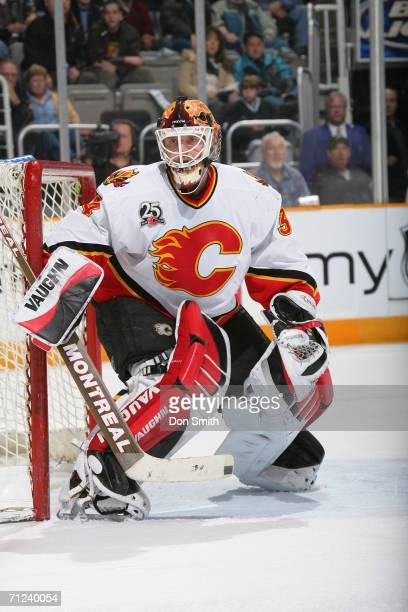Goaltender Mikka Kiprusoff of the Calgary Flames prepares for a shot during a game against the San Jose Sharks on February 6 2006 at the HP Pavilion...