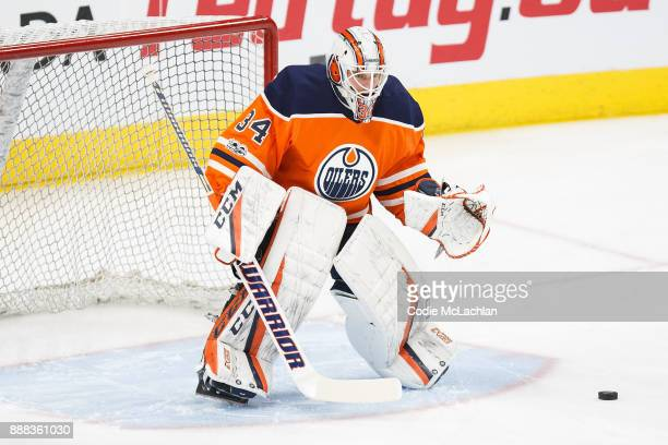 Goaltender Nick Ellis of the Edmonton Oilers warms up against the Toronto Maple Leafs at Rogers Place on November 30 2017 in Edmonton Canada