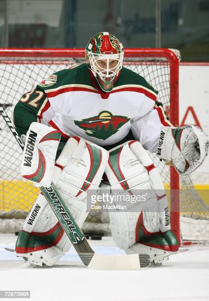 Goaltender Niklas Backstrom of the Minnesota Wild defends his net against the Calgary Flames during their NHL game at Pengrowth Saddledome in Calgary...