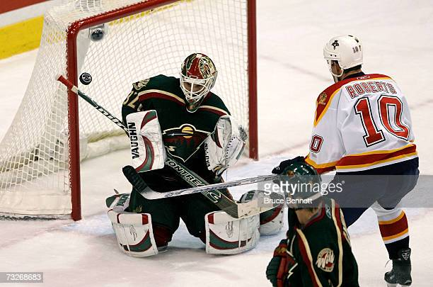Goaltender Niklas Backstrom of the Minnesota Wild makes the save on Gary Roberts of the Florida Panthers at the Xcel Energy Center on February 8 2007...
