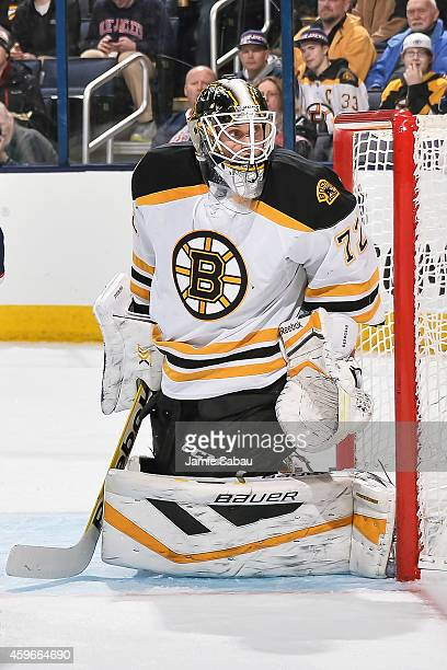 Goaltender Niklas Svedberg of the Boston Bruins defends the net against the Columbus Blue Jackets on November 21 2014 at Nationwide Arena in Columbus...