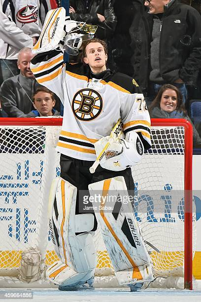 Goaltender Niklas Svedberg of the Boston Bruins gets ready to defend the net against the Columbus Blue Jackets on November 21 2014 at Nationwide...