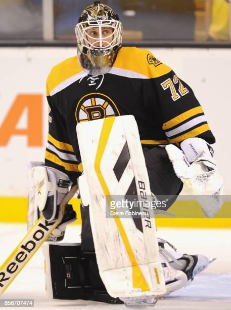 Goaltender Niklas Svedberg of the Boston Bruins plays in a game against the New Jersey Devils at TD Garden on January 8 2015 in Boston Massachusetts