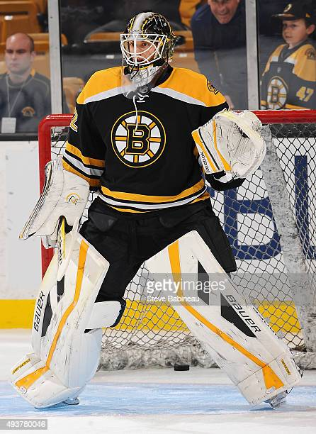 Goaltender Niklas Svedberg of the Boston Bruins plays in the game against the Washington Capitals at TD Garden on October 11 2014 in Boston...