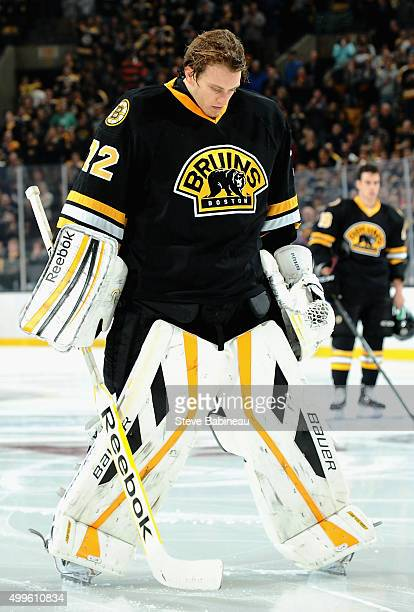 Goaltender Niklas Svedberg of the Boston Bruins prepares to play in the game against the Colorado Avalanche at TD Garden on October 13 2014 in Boston...
