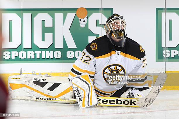 Goaltender Niklas Svedberg of the Boston Bruins stretches prior to the game against the Colorado Avalanche at the Pepsi Center on January 21 2015 in...