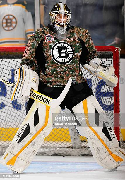 Goaltender Niklas Svedberg of the Boston Bruins warms up before playing in the game against the New Jersey Devils at TD Garden on November 10 2014 in...