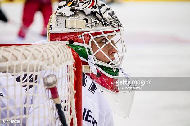 Goaltender of Frolunda Gotenburg Johan Gustafsson during the 3rd period of Champions Hockey League Round of 32 match between Yunost Minsk and...