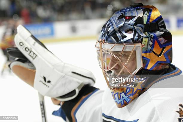 Goaltender Olaf Kolzig of the Washington Capitals looks on during the game against the Ottawa Senators on April 1, 2006 at the Scotiabank Place in...