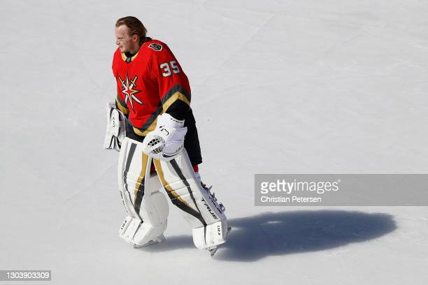 Goaltender Oscar Dansk of the Vegas Golden Knights warms up during the 'NHL Outdoors At Lake Tahoe' against the Colorado Avalanche at the Edgewood...