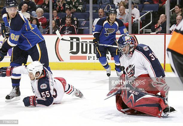 Goaltender Pascal Leclaire of the Columbus Blue Jackets makes a save against the St. Louis Blues on October 25, 2007 at Nationwide Arena in Columbus,...