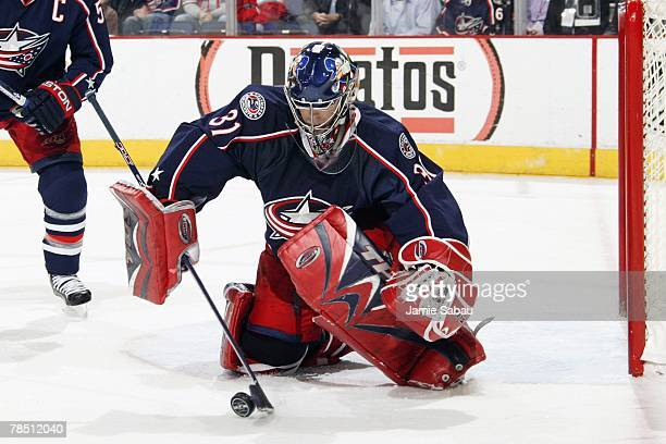 Goaltender Pascal Leclaire of the Columbus Blue Jackets makes a save against the Anaheim Ducks during the game on December 10, 2007 at Nationwide...