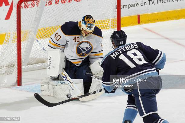 Goaltender Patrick Lalime of the Buffalo Sabres stops a shot by Shawn Matthias of the Florida Panthers on December 17, 2010 at the BankAtlantic...
