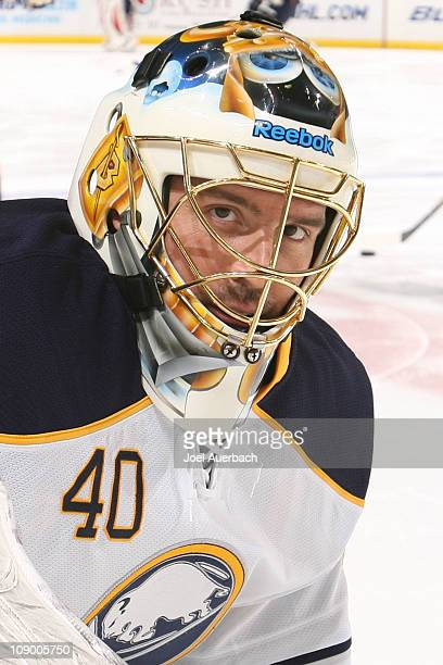 Goaltender Patrick Lalime of the Buffalo Sabres stretches prior to the NHL game against the Florida Panthers on February 10, 2011 at the BankAtlantic...