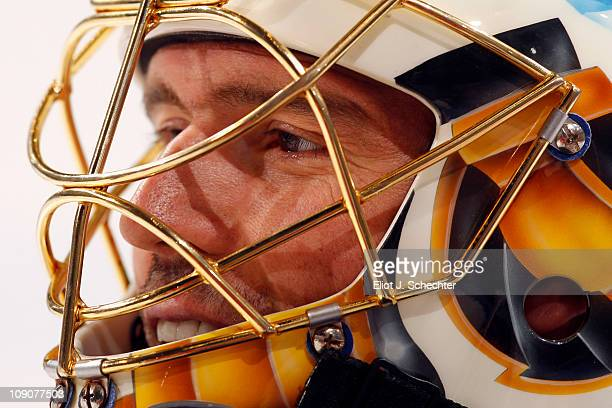 Goaltender Patrick Lalime of the Buffalo Sabres warms up on the ice prior to the start of the game against the Florida Panthers at the BankAtlantic...