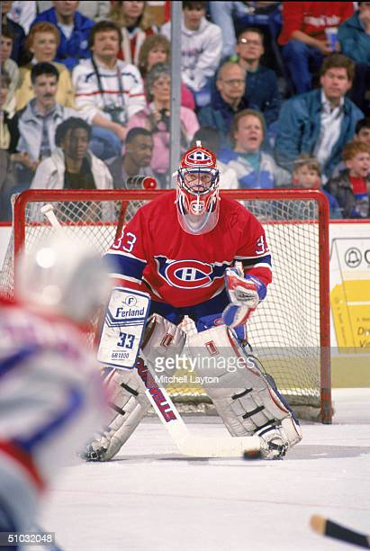 Goaltender Patrick Roy of the Montreal Canadiens eyes the play in the slot during a game against the Washington Capitals circa 1991 in Washington DC