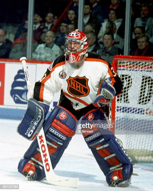 Goaltender Patrick Roy of the Wales Conference and the Montreal Canadiens defends the net during the 1993 44th NHL AllStar Game against the Campbell...