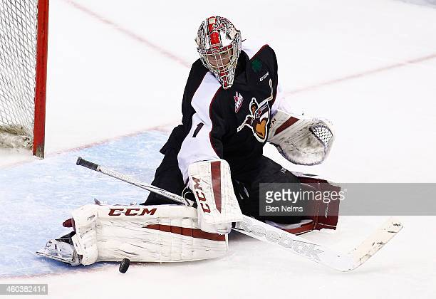 Goaltender Payton Lee of the Vancouver Giants makes a save against the Prince Rupert Raiders during their WHL game at the Pacific Coliseum on...