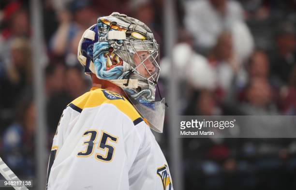 Goaltender Pekka Rinne of the Nashville Predators stands in net against the Colorado Avalanche in Game Three of the Western Conference First Round...
