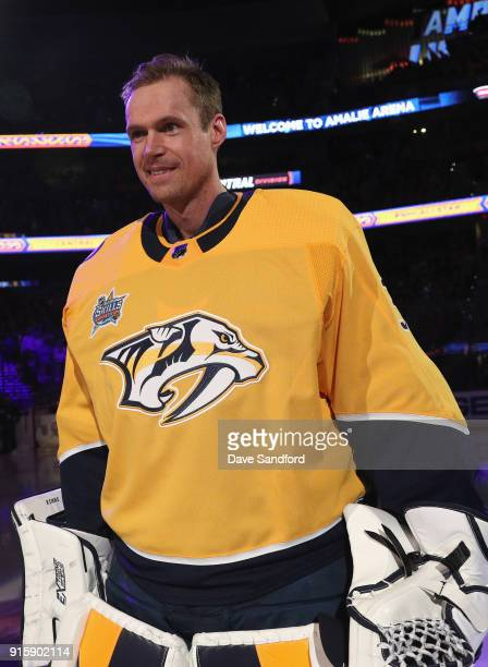 Goaltender Pekka Rinne of the Nashville Predators stands on the ice before the 2018 GEICO NHL AllStar Skills Competition at Amalie Arena on January...