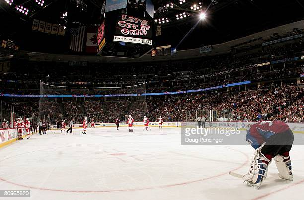 Goaltender Peter Budaj of the Colorado Avalanche pauses during a break in the action against the Detroit Red Wings during Game Four of the Western...