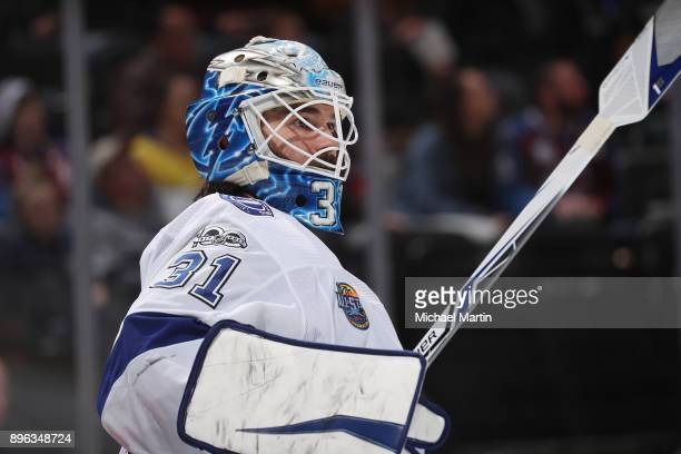Goaltender Peter Budaj of the Tampa Bay Lightning looks on against the Colorado Avalanche at the Pepsi Center on December 16 2017 in Denver Colorado...