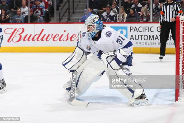 Goaltender Peter Budaj of the Tampa Bay Lightning stands ready against the Colorado Avalanche at the Pepsi Center on December 16 2017 in Denver...