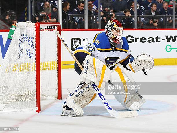 Goaltender Pheonix Copley of the St Louis Blues guards the net during second period action against the Winnipeg Jets at the MTS Centre on January 21...