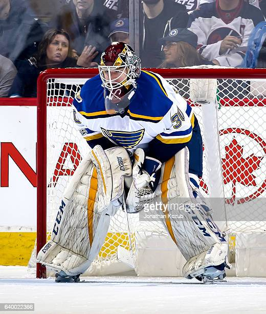 Goaltender Pheonix Copley of the St Louis Blues guards the net during first period action against the Winnipeg Jets at the MTS Centre on January 21...