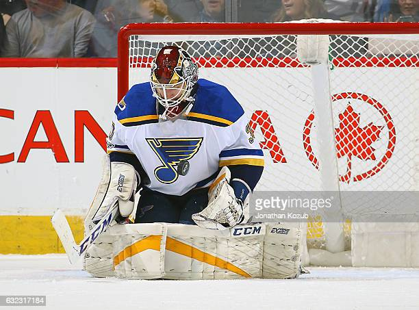 Goaltender Pheonix Copley of the St Louis Blues makes a save during first period action against the Winnipeg Jets at the MTS Centre on January 21...